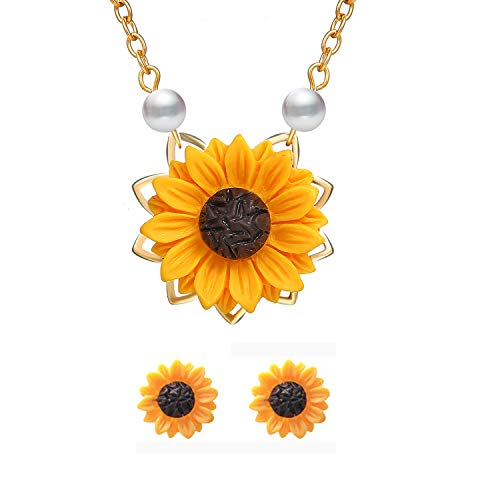 S-WAY Hypoallergenic Sunflower Pearl Chain Resin Boho Handmade Drop Pendant Necklace Plated Sunflower Resin Earring - Resin Pearl Earrings