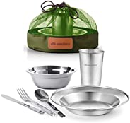 Stainless Steel Tableware Mess Kit Camping Dish Set Includes Plate Bowl Cup Cutlery's Mesh Kit Great for I