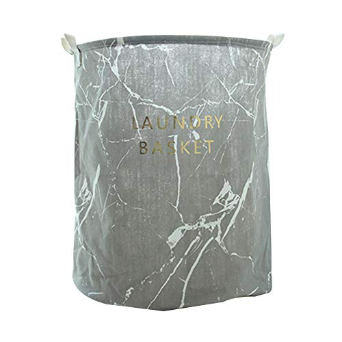 Wakerda Canvas Storage Basket - Large Storage Bin with Handles - Marble Pattern Storage Containers in Gray by Wakerda