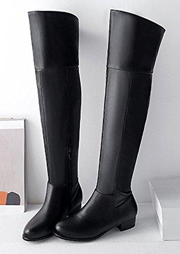 Fashion Aisun Talon Bloc Genou Femme Bottes Noir Cuissardes Hautes qfvpw1q