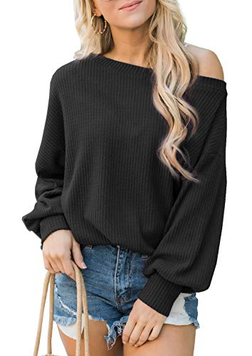 iGENJUN Women's Off Shoulder Batwing Sleeve Loose Pullover Sweater Tops