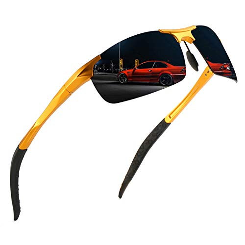 luojery Men's Fashion Driving Polarized Sports Sunglasses for Men Al-Mg Metal Frame Ultra Light (Gold Frame Grey Lens, as the picture)