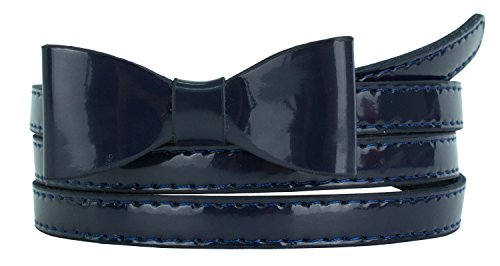 Womens Stylish Faux Patent Leather Skinny Belt with Mini Bow Accent (L(35.5