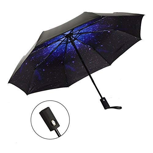J&B Umbrellas Compact Travel Umbrella Auto Open Close for Women Vinyl Anti-UV Lightweight Starry and Blossom Parasol for Sun and Rain Gift Choice Starry