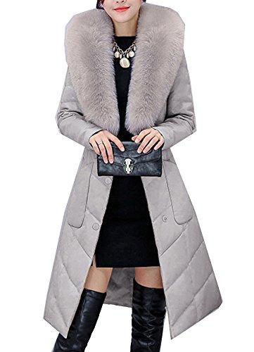 S&S Women Fashion Slim Faux Fur Fox Collar Belt Long Leather Down Jacket Coat by S&S-women