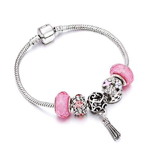CTRCHUJIAN Girl Silver Snake Chain Bracelet Rainbow Dragonfly Key Heart Pendant Charm Women PinkCrystal Stone Jewelry Bangl
