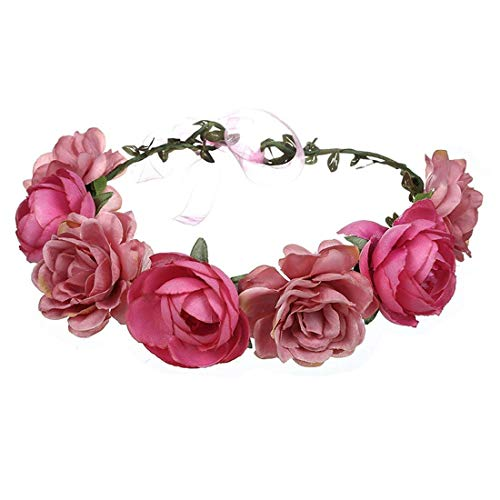 (Women Rose Floral Crown Hair Wreath Leave Flower Headband with Adjustable Ribbon (Rose Red) )
