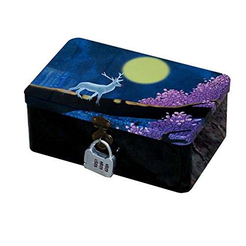 Desktop Storage Tin Box Tinplate Storage Box with Lock (Deer)