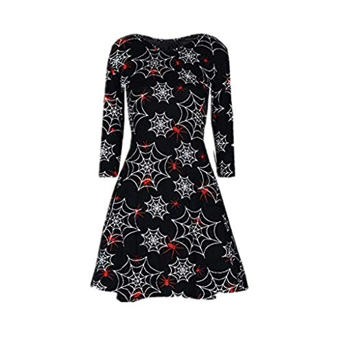 Halloween Dress Hot Sale! DEATU Women Printing Casual Long Sleeve Ladies Halloween Evening Party Prom Dress(Black 2,XXL)