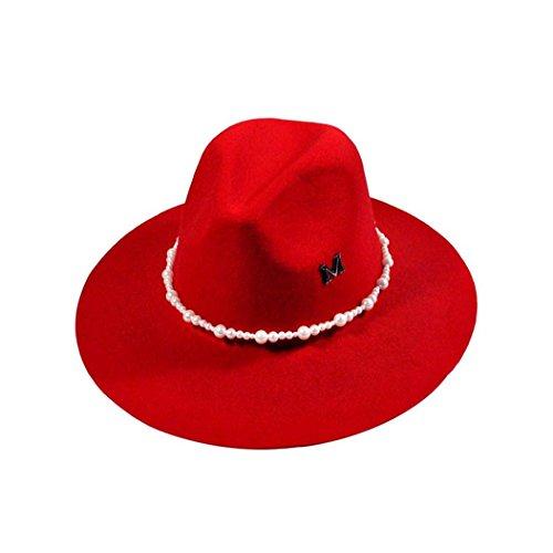 VIASA Fashion Solid Color Women Lady Beach Wool Felt Bowler Fedora Hat (Red)