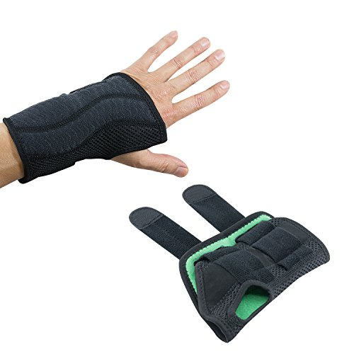 Wrist Brace Pair, Two (2), Small/Medium, Carpal Tunnel, Right and Left Carpel Wrist Support, Forearm Splint Band, 3 Straps Adjustable, Breathable for Sports, Sprains, Arthritis and Tendinitis by Houseables