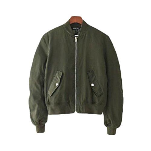 Militare Maniche Colore Semplici Tinta Invernale Cappotto Bomber Corta Unita Donna Verde Caldo Lunghe Yaancun Giacca xnZUw66