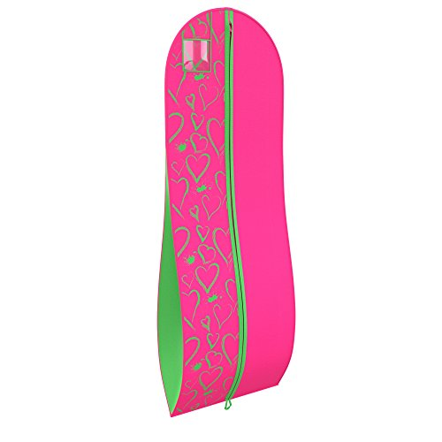 Women's Dress and Gown Garment Bag - Green and Pink Hearts - by Your Bags