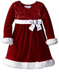 Girls Red Velvet Sequin Christmas Dress