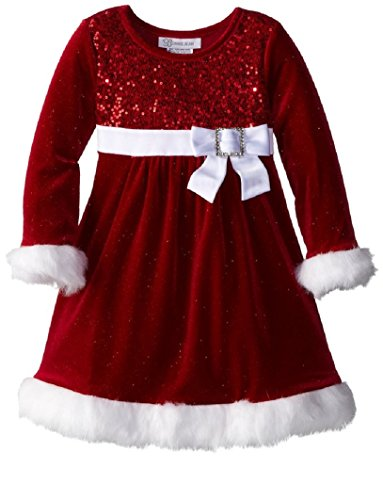 Bonnie Jean Little Girls' Sparkle Stretch Santa Dress