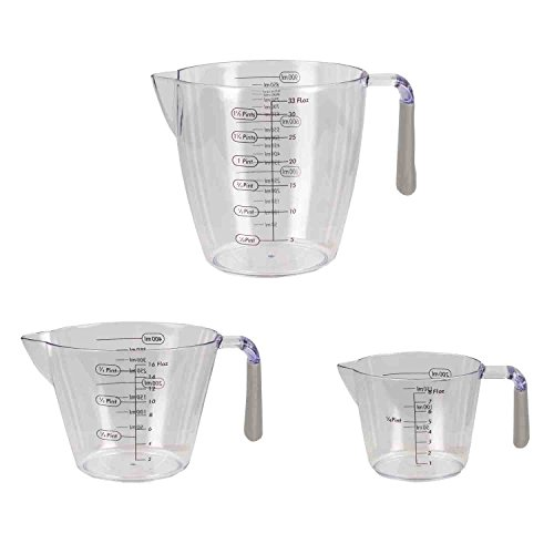 Home Basics 3 Piece 3PC Plastic Measuring Cup Set with Rubber Grip Handles