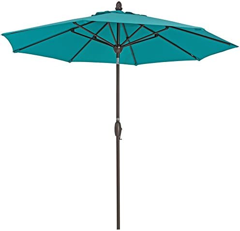 Patio Umbrella 9 Feet Patio Market Table Umbrella with Push Button Tilt, Crank and Umbrella Cover, Turquoise