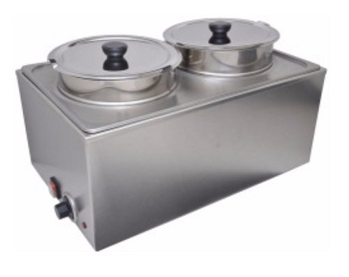 Uniworld Double Food Warmer without Drain Valve. Includes Adapter Plate and 2 x 8-Qt. Inserts with Lids. Maximum Heat of 175 - 180 °F. ETL Approved Model FW-1002