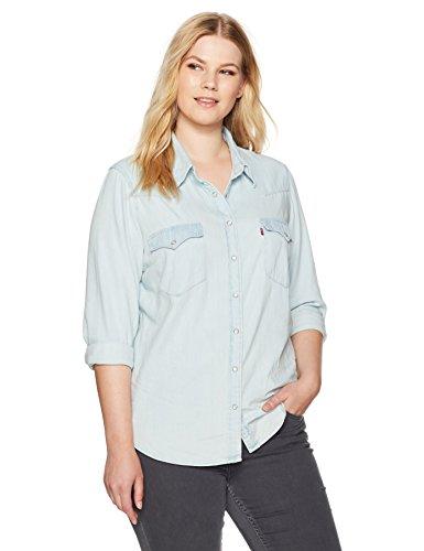 Levi's Women's Plus-Size Western Shirt, Frances Blue, 1 X