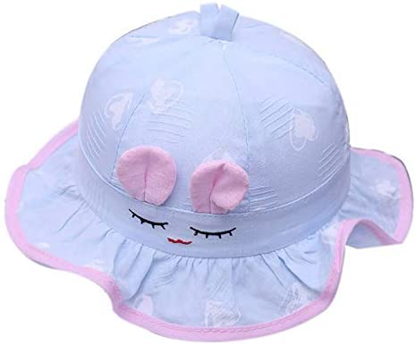 Wansan Cotton Fishermans Cap for Toddler Sun Hat Smiley Pattern Baby Basin Sunbonnet for Kids 0-3 Months