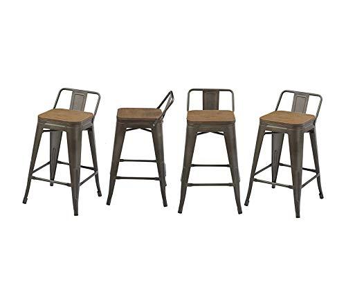 Office Home Furniture Premium Low Back Chair Industrial 24 Rustic Metal Wood Indoor Outdoor Counter Height Bar Stool Set of 4, 24 inch, Antique Bronze