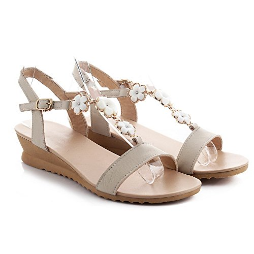 AmoonyFashion Womens Soft Material Buckle Open Toe Low Heels Solid Sandals Beige L39dhoO8