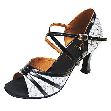 Anpassen Performance Tanzschuhe Kunstleder / paillette oberen Latin Schuhe für Frauen , black and white