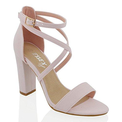 Essex Glam Sintético Sandalias de punta abierta con tira al tobillo y tacón cuadrado Rosa Pastel Gamuza Sintética