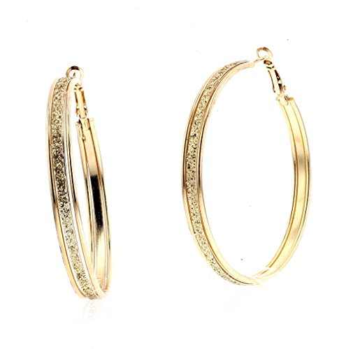 Violet & Virtue Women's Glitter Dust Disco Jumbo Endless Hoop Earrings (Jumbo Gold Hoop Earrings)