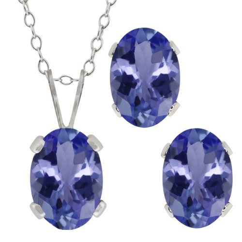 1.65 Ct Oval Blue Tanzanite Gemstone Sterling Silver Pendant Earrings Set