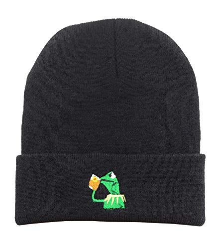 og Sipping Tea Beanie Warm Comfortable Soft Oversized Thick Cable Knitted Hat Unisex Knit Caps-Black ()