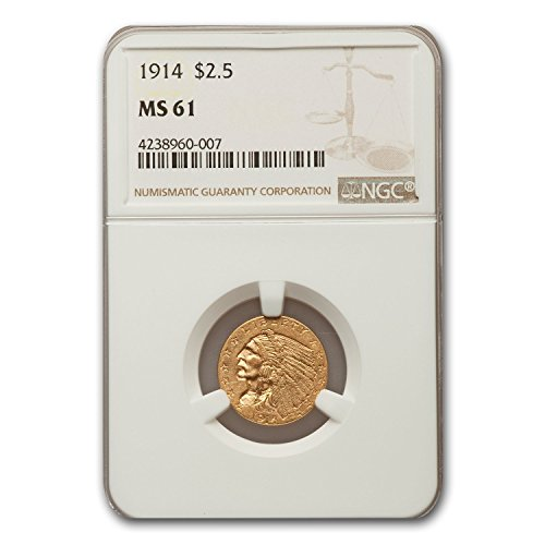 1914 $2.50 Indian Gold Quarter Eagle MS-61 NGC Quarter MS-61 NGC