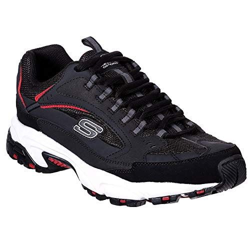 (Skechers Men's Stamina Cutback Low Top Sneaker Shoes Black Red 11)