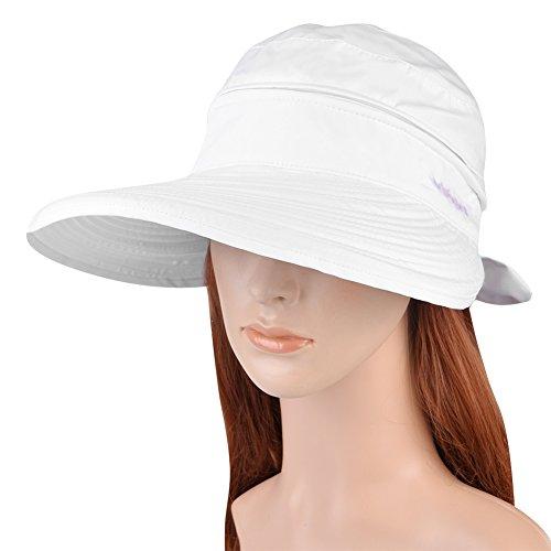 Vbiger Butterfly Knot Sun Wide Brim Visor Floppy Fold Beach Hat (White)