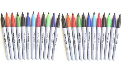 24 Pack Colored Permanent Markers Assorted Colors Point Marker Set