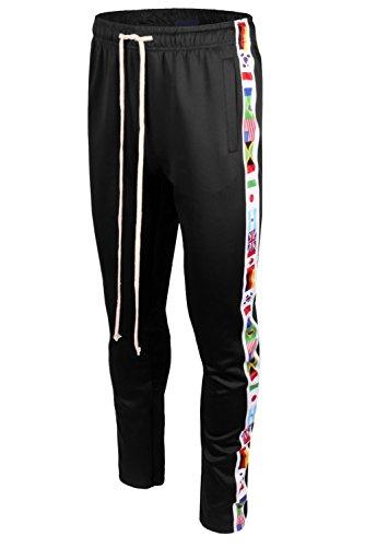 Mens Premium Slim Fit Ankle Zipper Jogger W/Side National Flags Print Black XL (Ankle Zipper Side)