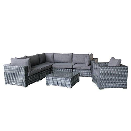 Magari Furniture MAG953V-6DE Outdoor 6 Piece 4 Seater Aluminum Rattan Pool Patio Garden Set, Grey (6 Seater Rattan Garden Furniture Sets)