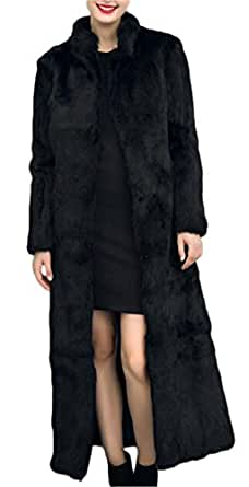 Women's Winter Fashion Long Maxi Outerwear Faux Fur Coat ...
