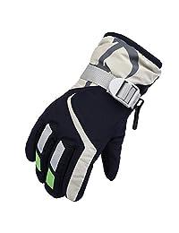 Janedream Kids Ski Winter Snow Gloves Warm Waterproof Children Windproof Thickening Gloves for Girls Boys Dark Blue
