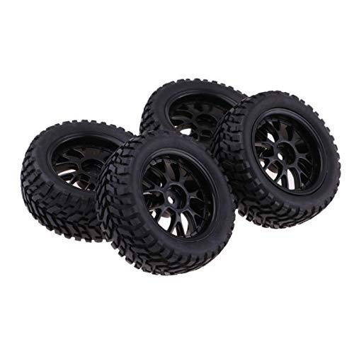 4Pc Short Course Tire Wheel Rim For HSP HPI 1:10 TRAXXAS Slash RC Car Accs Black