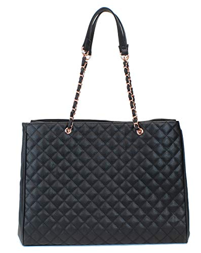 (Women's Large Travel Tote Quilted Purse and Work Laptop Handbag - Rose Gold Hardware With Satin Interior - Black)