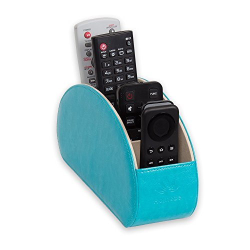 Homeze Remote Control Holder, Organizer, Caddy TV Smart TV, DVD, Mobile, Stationary Makeup Brush Living Room, Lounge, Home, Kitchen Organiser, Container with Gift Box (Turquoise Blue)