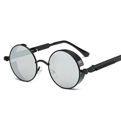 Steampunk Round Metal Sunglasses for Men Women Mirrored Circle Sun glasses Brand Designer Retro Vintage,6631 black f silver