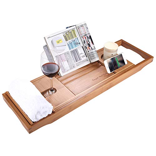 Frame Bath - SUNFICON Bamboo Bathtub Caddy Tray with Extending Sides Mug/Wineglass/Smartphone Holder, Metal Frame Book/Pad/Tablet Holder with Waterproof Cloth Detachable Sliding Tray Non-Slip Rubber Base