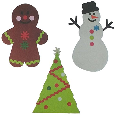 Three Piece Felt Ornament Kit Bundle: One Christmas Tree, One Gingerbread Man, One Snowman Snow Country Felt