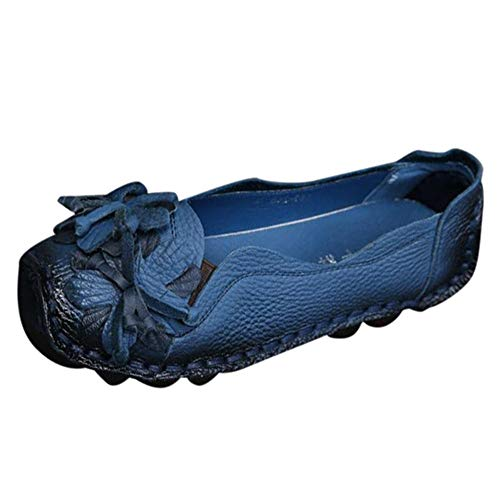 Women's Casual Flat Shoes,Classic Handmade Genuine Leather Flower Single Shoes Retro Soft Slipper Peas Shoes (Blue, 8 B(M) US) ()
