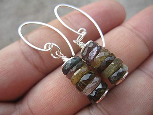 Natural Raw Multi color Tourmaline Earrings,925 Sterling Silver Earrings,Drop Length 3.8 cm,ERTM1