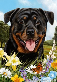 "Cheap Rottweiler Dog – Tamara Burnett Summer Flowers House Dog Breed Flag 28"" x 40"""