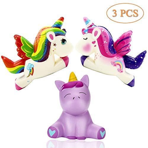 Adpartner Unicorn Squishy Toys, 3PCS Squishies Slow Rising Toys for Adults Kids Over 5 Years Old