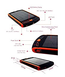 Casewarehouse 23000mAh Multi-Voltage (5V, 12V, 16V, 19V) Universal Solar Power Bank with LED Light